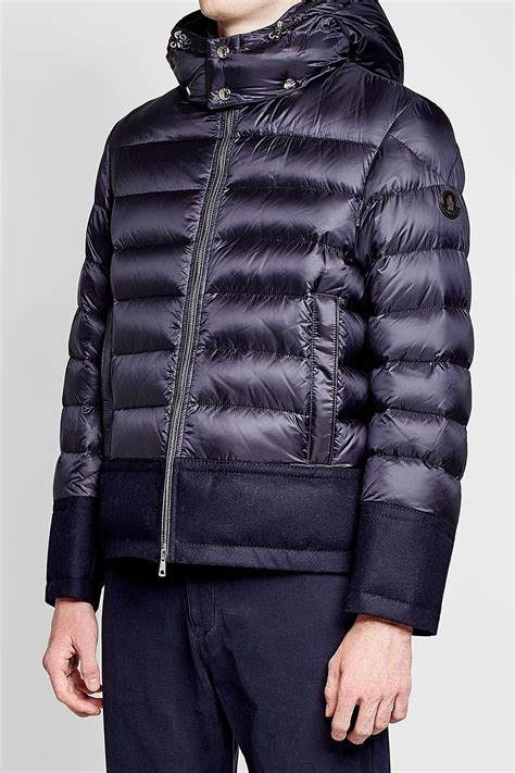 Moncler Quilted Down Jacket With Wool in Blue for Men - Lyst
