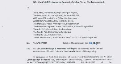 List of closed holidays & Restricted holidays to be