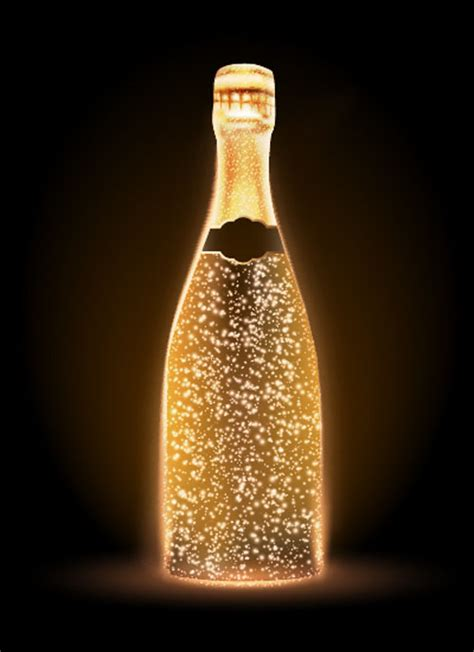 Champagne bottle vector material 04 - Vector Food free