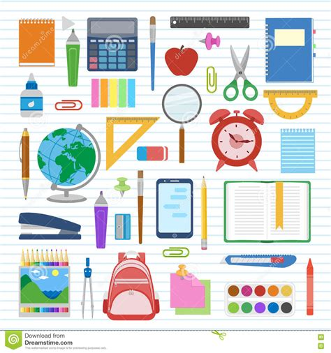 School Supplies And Items Set On A Sheet In A Line