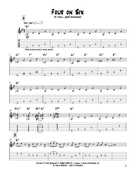 Tablature guitare Four On Six de Wes Montgomery