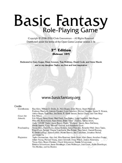 Basic Fantasy 3rd Edition (2014) - Core Rules | Dice