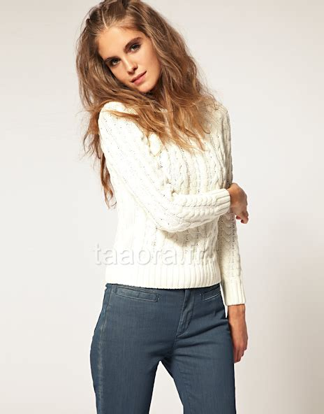 pull grosse maille femme blanc