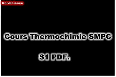 Cours Thermochimie SMPC S1 PDF - UnivScience