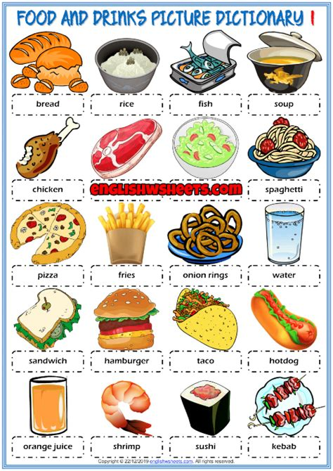 Food and Drinks ESL Picture Dictionary Worksheets