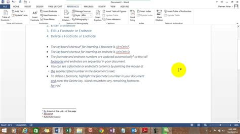 Insert Footnote & Endnote in MS Word - YouTube