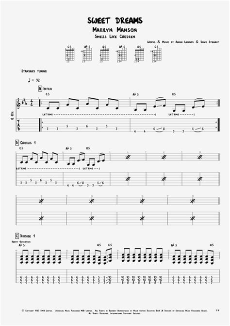 Sweet Dreams by Marilyn Manson - Full Score Guitar Pro Tab