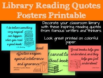 Library Reading Quotes Posters Printable by Alexandra